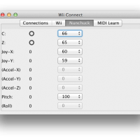 View of the window to configure the MIDI output values for different interaction types with the Nunchuk extension.